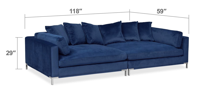 Living Room Furniture - Moda 2-Piece Sofa - Blue
