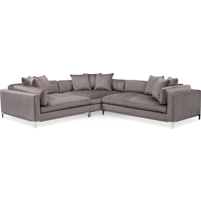 Living Room Furniture - Moda 3-Piece Sectional with Right-Facing Chaise - Oyster