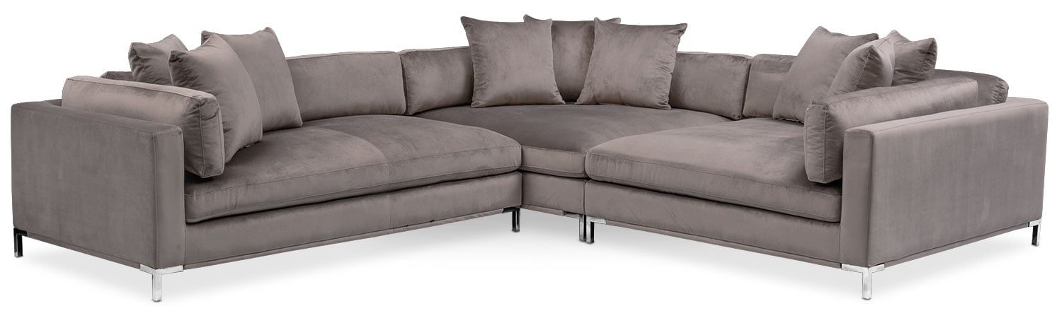 Living Room Furniture - Moda 3-Piece Sectional with Left-Facing Chaise - Oyster