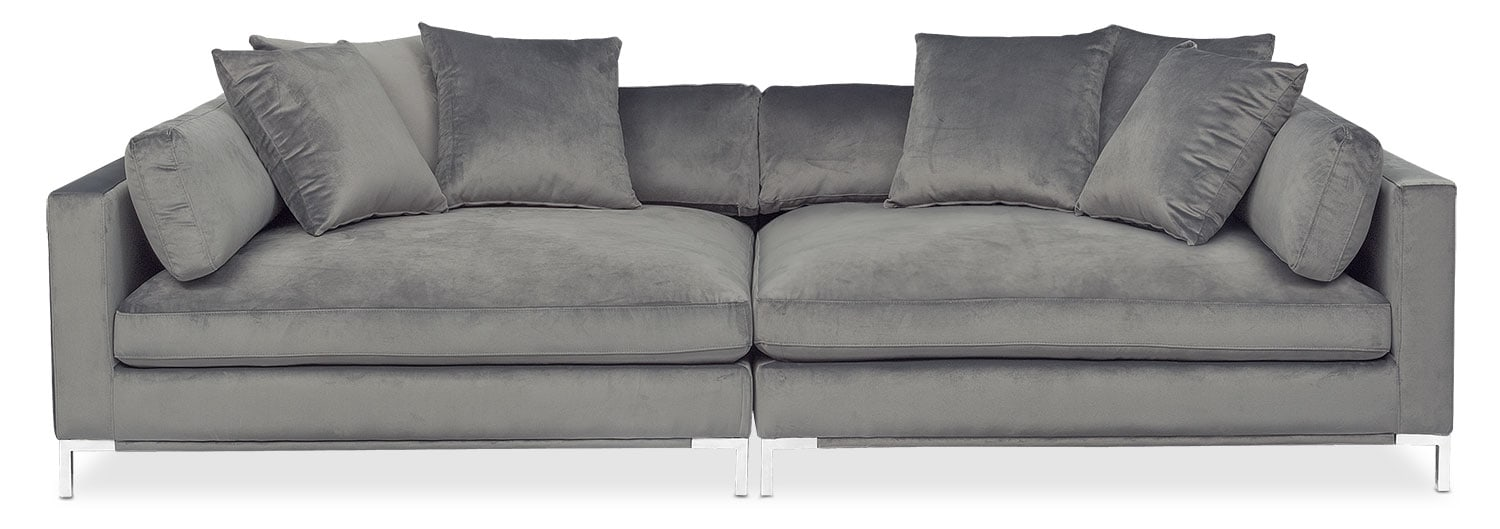 Living Room Furniture - Moda 2-Piece Sofa - Gray