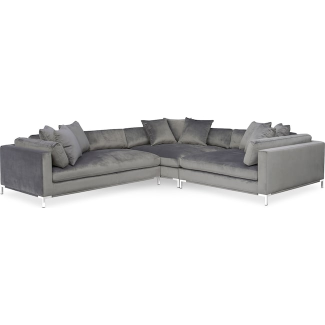 Living Room Furniture - Moda 3-Piece Sectional with Left-Facing Chaise - Gray