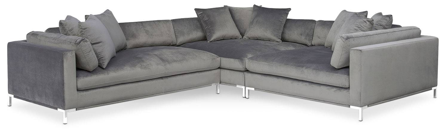 Attirant Living Room Furniture   Moda 3 Piece Sectional With Left Facing Chaise    Gray