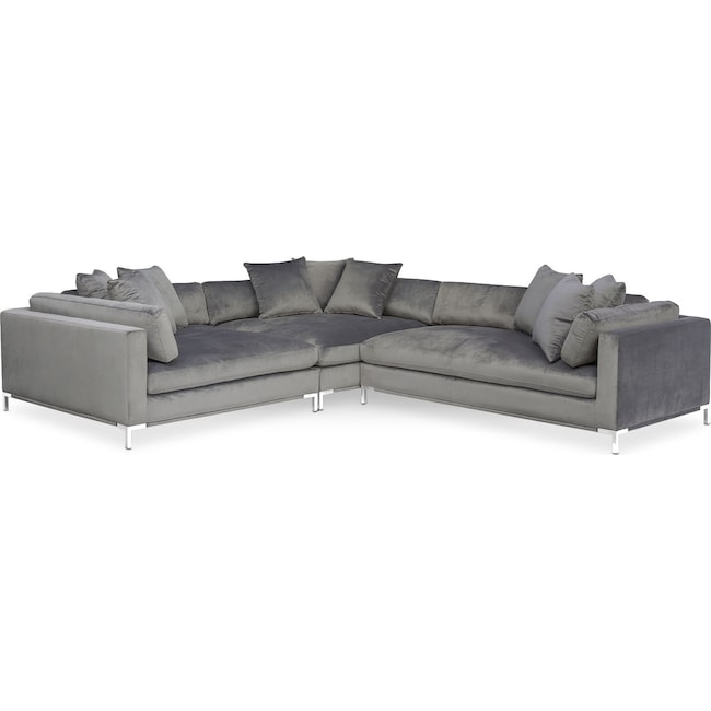 Living Room Furniture - Moda 3-Piece Sectional with Right-Facing Chaise - Gray