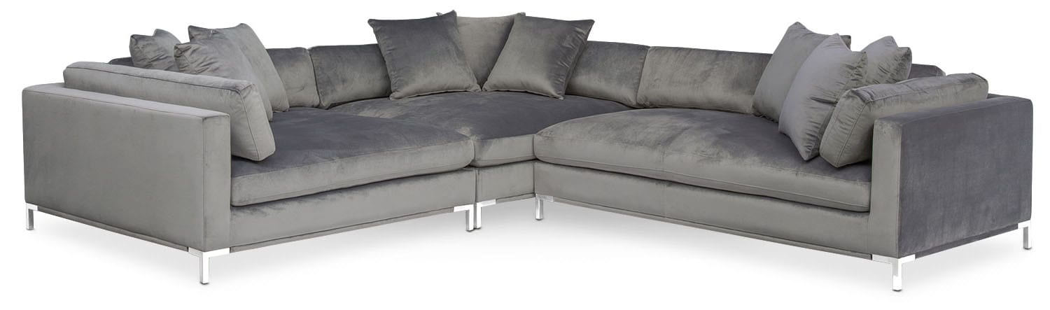 Living Room Furniture - Moda 3-Piece Sectional with Right-Facing Chaise - Gray  sc 1 st  Value City Furniture : right facing sectional - Sectionals, Sofas & Couches
