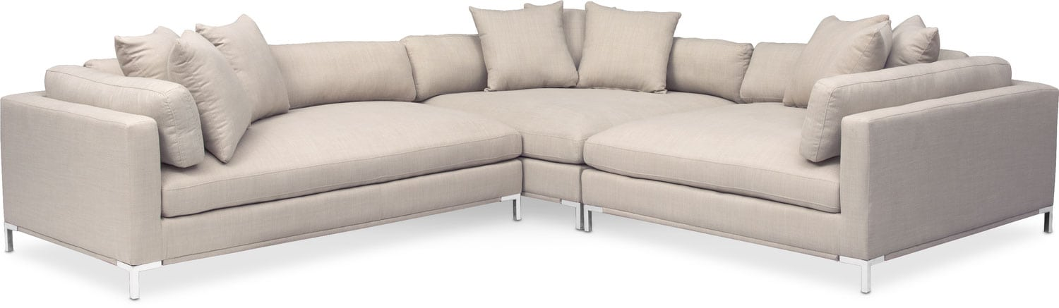 Moda 3-Piece Sectional with Left-Facing Chaise - Ivory