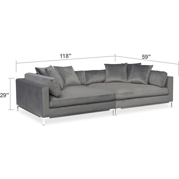 Living Room Furniture - Moda 2-Piece Sofa - Gray