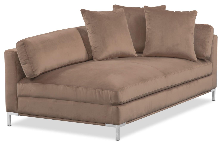Living Room Furniture - Moda Right-Facing Chaise - Mushroom