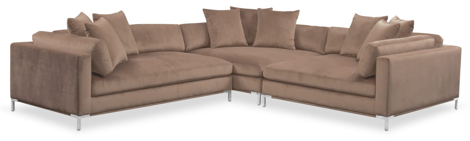 Living Room Furniture - Moda 3-Piece Sectional with Left-Facing Chaise - Mushroom