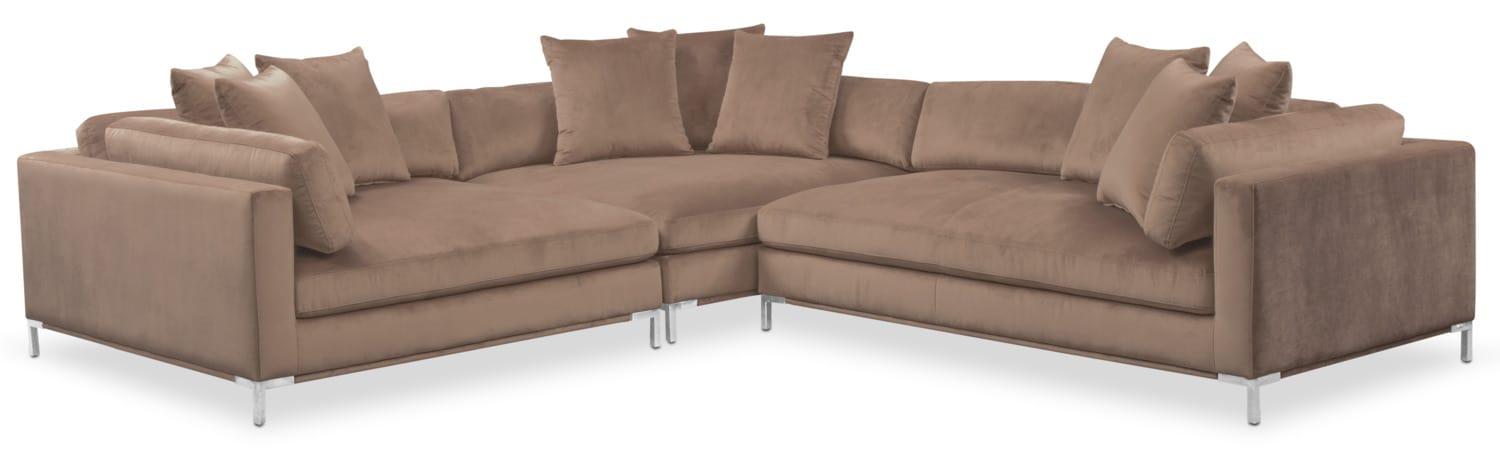 living room furniture moda 3piece sectional with rightfacing chaise mushroom