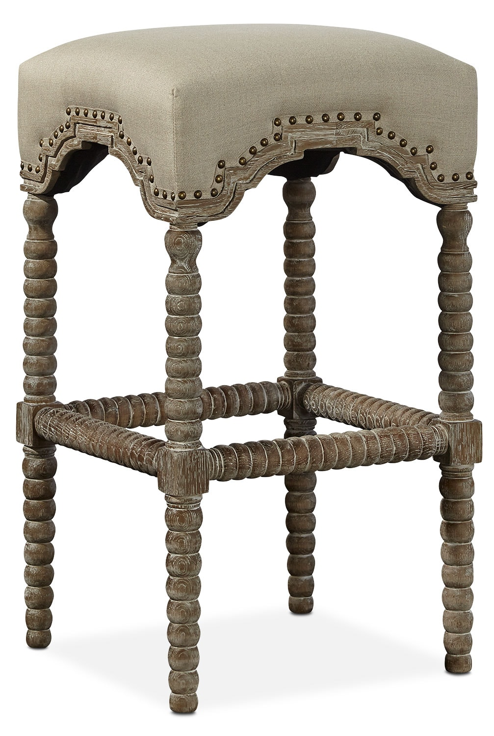 Kingdom Backless Barstool - Linen