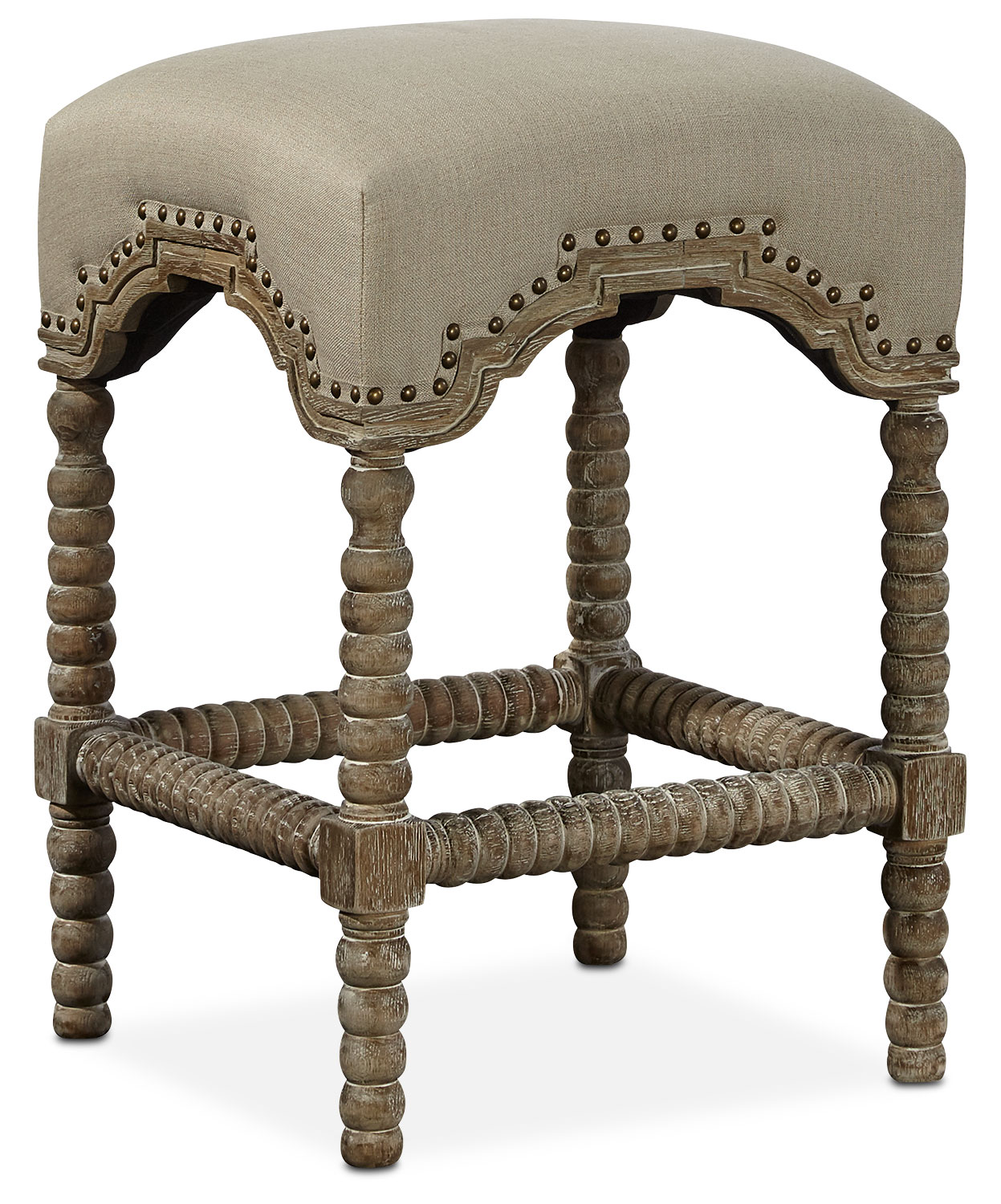 Kingdom Backless Counter Height Stool   Linen