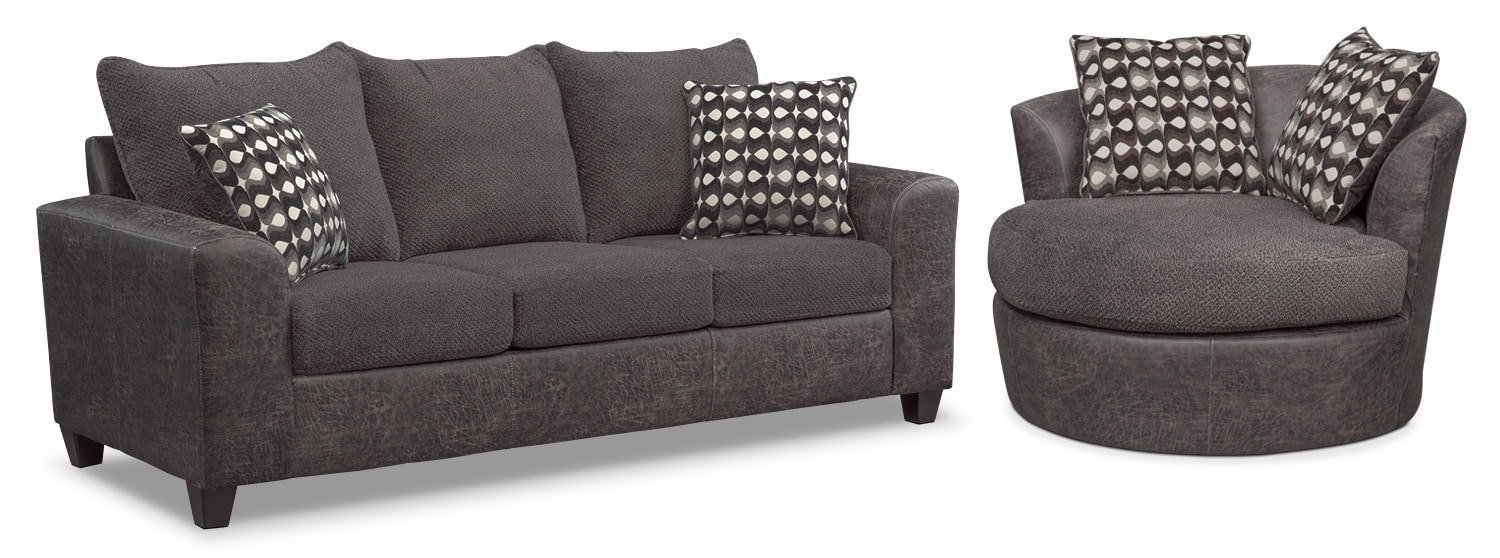 Living Room Furniture - Brando Memory Foam Sleeper Sofa and Swivel Chair Set - Smoke