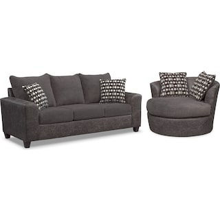 Brando Sofa and Swivel Chair Set