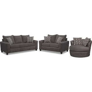 Brando Queen Sleeper Sofa, Loveseat and Swivel Chair Set