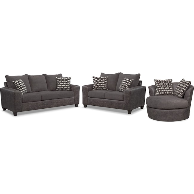 Living Room Furniture - Brando Sofa, Loveseat and Swivel Chair Set - Smoke