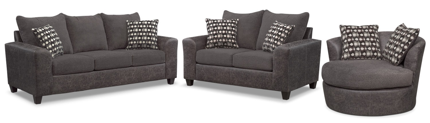 Superb Living Room Furniture   Brando Sofa, Loveseat And Swivel Chair Set   Smoke