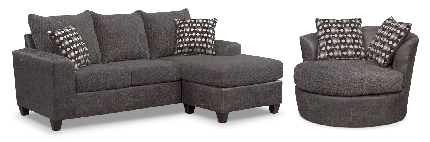 Brando Queen Memory Foam Sleeper Sofa with Chaise and Swivel Chair Set - Smoke