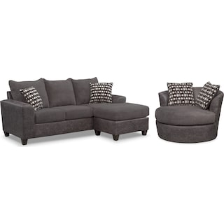 Brando Queen Sleeper Sofa with Chaise and Swivel Chair Set