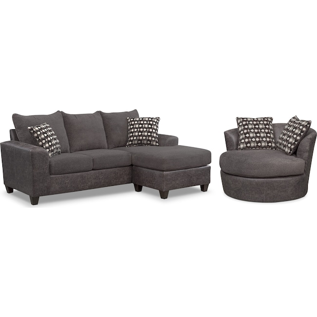 Living Room Furniture - Brando Queen Innerspring Sleeper Sofa with Chaise and Swivel Chair Set - Smoke
