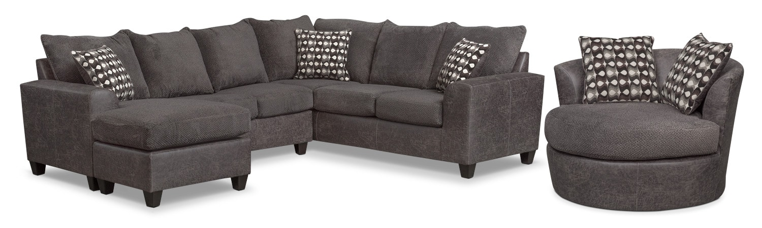 Astounding Brando 3 Piece Sectional With Chaise And Swivel Chair Set Inzonedesignstudio Interior Chair Design Inzonedesignstudiocom