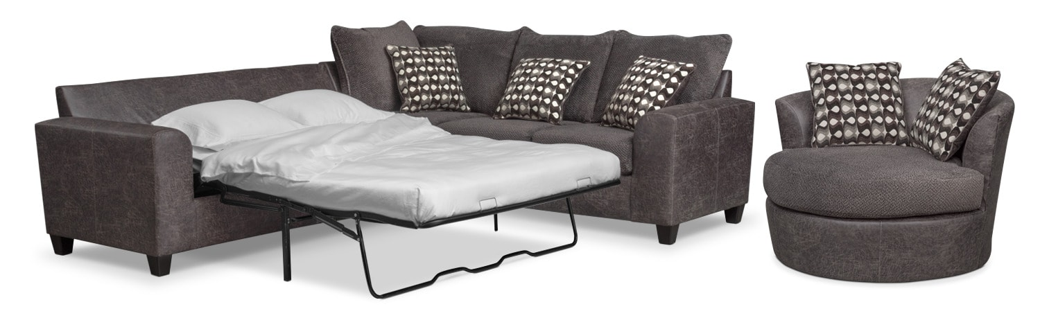 Brando 2-Piece Memory Foam Sleeper Sectional and Swivel Chair Set - Smoke
