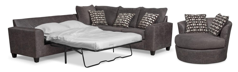 Living Room Furniture - Brando 2-Piece Innerspring Sleeper Sectional and Swivel Chair Set - Smoke