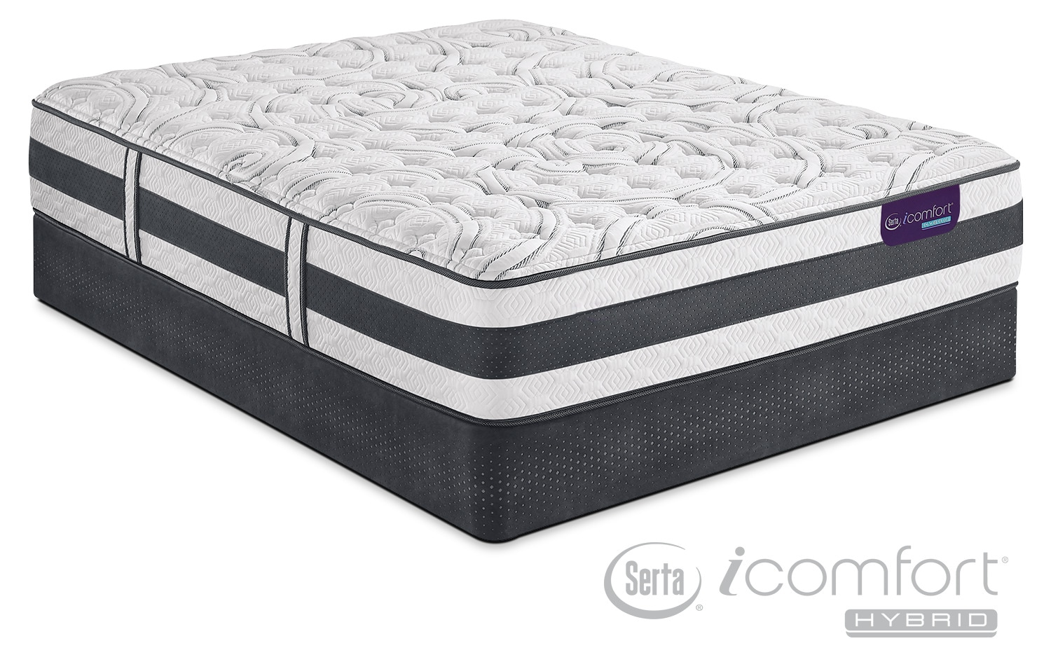 Mattresses and Bedding - Applause II Firm King Mattress and Split Low-Profile Foundation Set