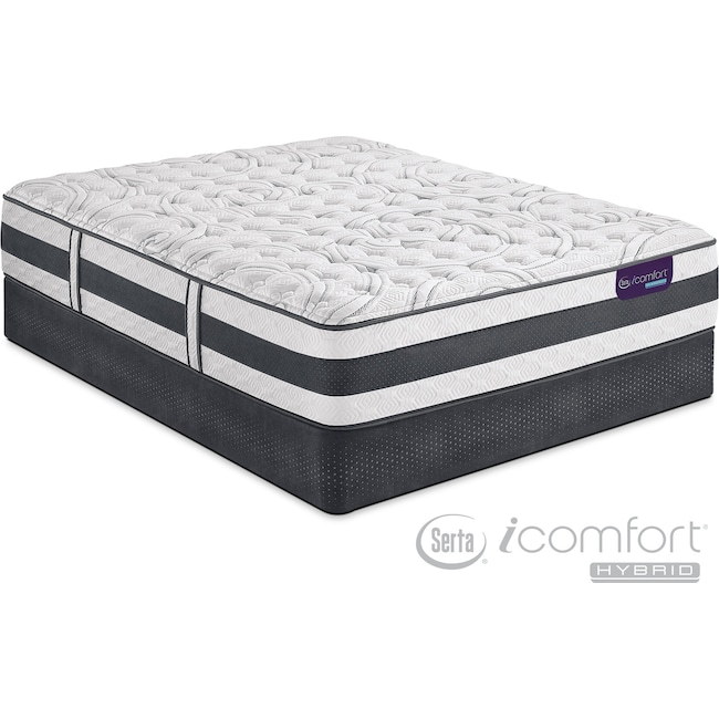 Mattresses and Bedding - Applause II Firm Queen Mattress and Low-Profile Foundation Set