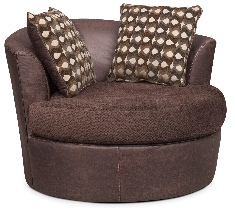 Living Room Furniture - Brando Swivel Chair - Chocolate