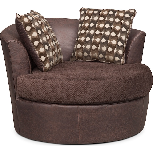 Living Room Furniture - Brando Swivel Chair - Chocolate