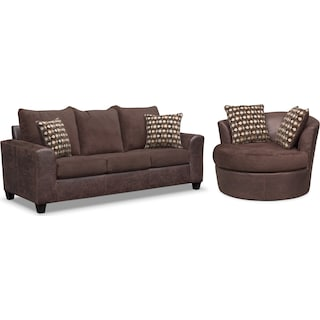 Brando Sofa and Swivel Chair Set - Chocolate