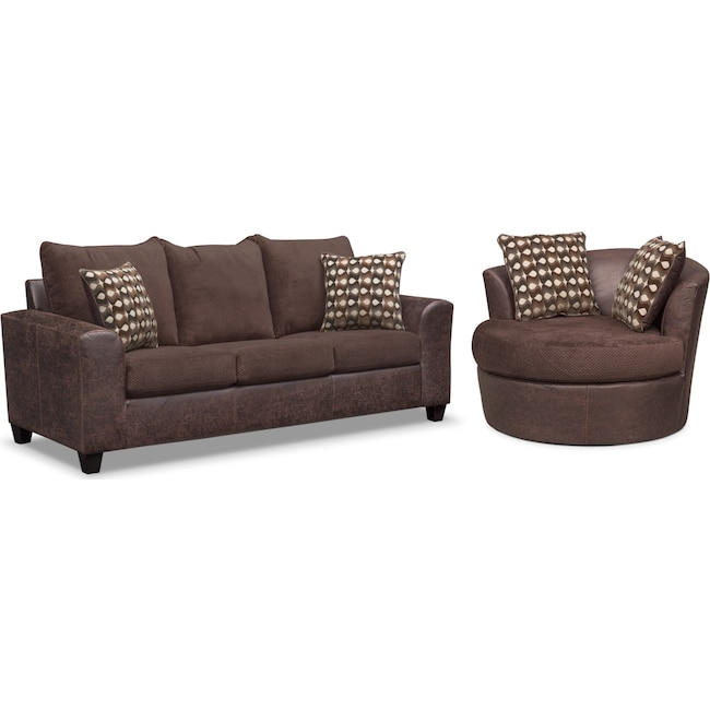 Living Room Furniture - Brando Queen Memory Foam Sleeper Sofa and Swivel Chair Set - Chocolate