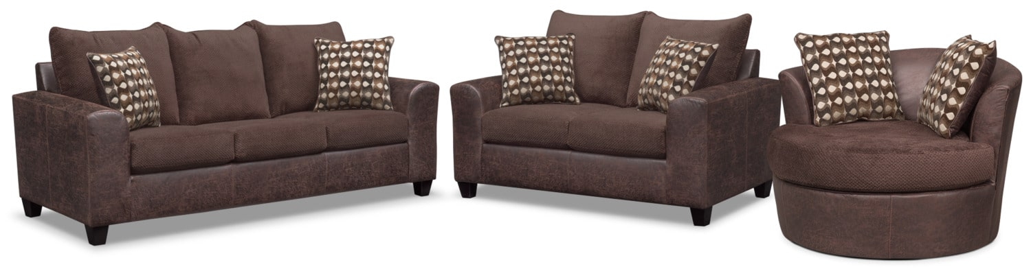 Living Room Furniture - Brando Sofa, Loveseat and Swivel Chair Set - Chocolate