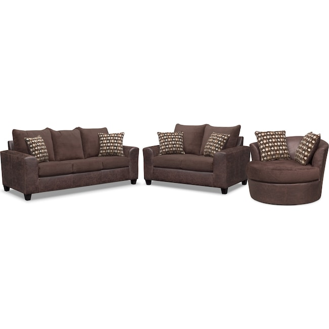 Living Room Furniture - Brando Queen Innerspring Sleeper Sofa, Loveseat and Swivel Chair Set - Chocolate
