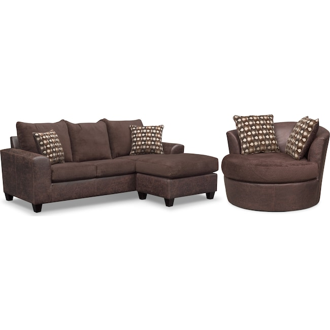 Living Room Furniture - Brando Queen Innerspring Sleeper Sofa with Chaise and Swivel Chair Set - Chocolate