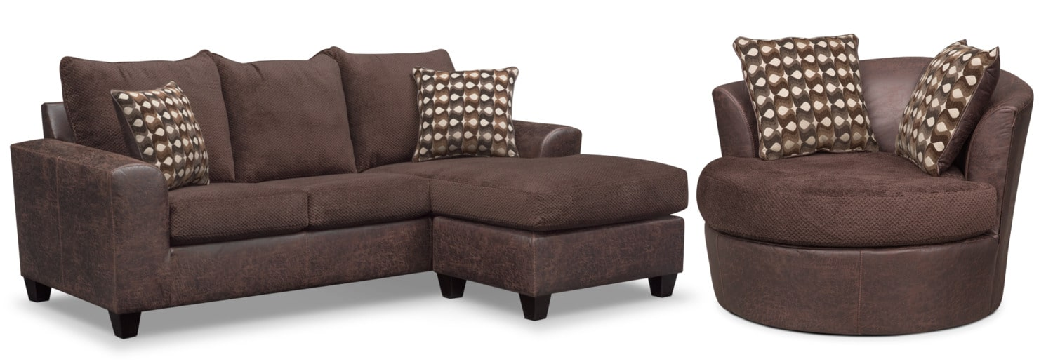Living Room Furniture   Brando Queen Memory Foam Sleeper Sofa With Chaise  And Swivel Chair Set