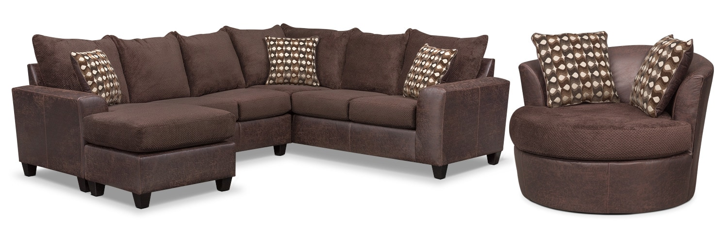 Living Room Furniture - Brando 3-Piece Sectional with Chaise and Swivel Chair Set - Chocolate