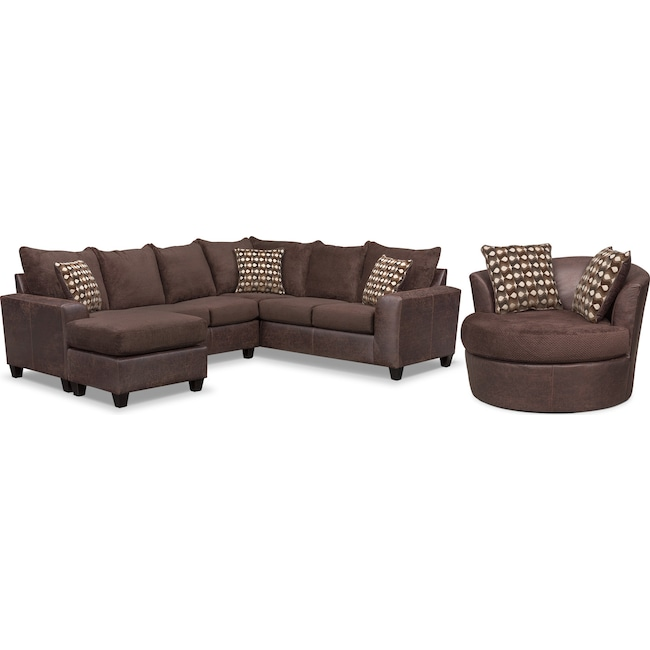 Brando 3 Piece Sectional With Left Facing Chaise And