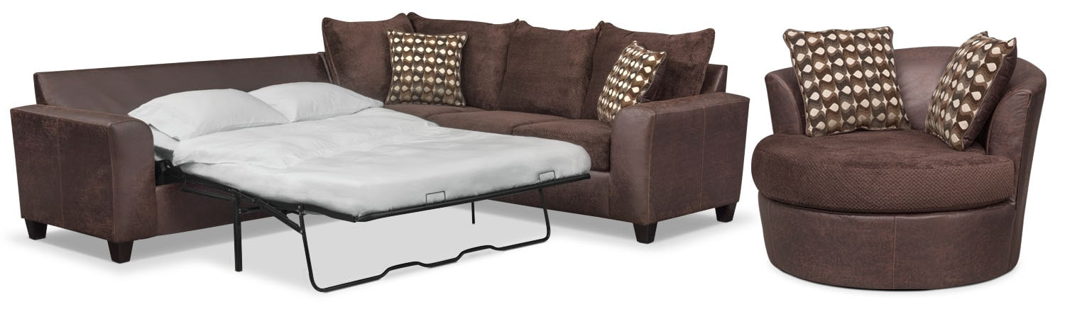 Brando 2-Piece Memory Foam Sleeper Sectional and Swivel Chair Set - Chocolate