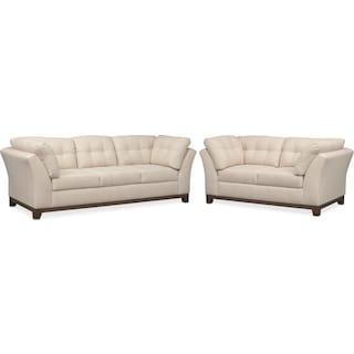 Sebring Sofa and Loveseat Set - Oyster