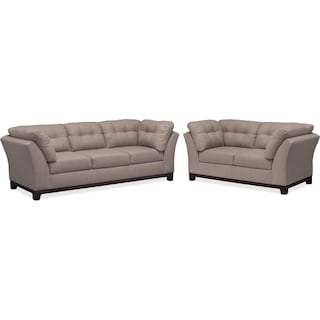 Sebring Sofa and Loveseat Set - Smoke