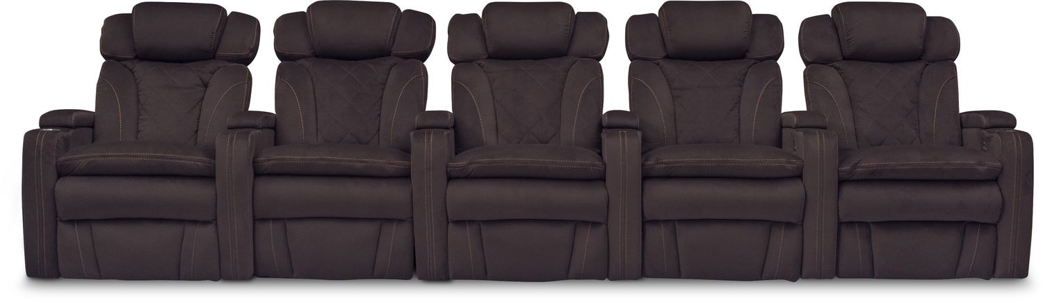 Fiero 5-Piece Power Reclining Home Theater Sectional - Godiva