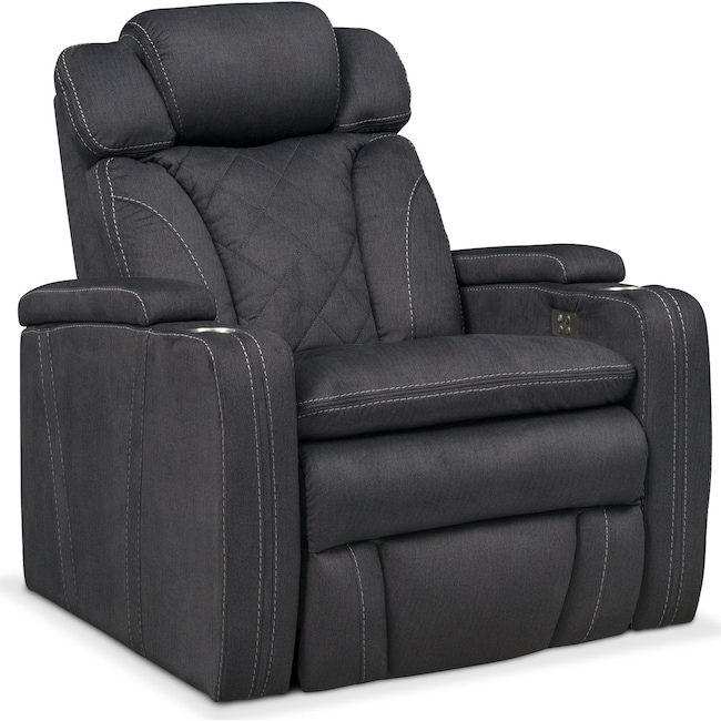 Living Room Furniture - Fiero Power Recliner - Charcoal