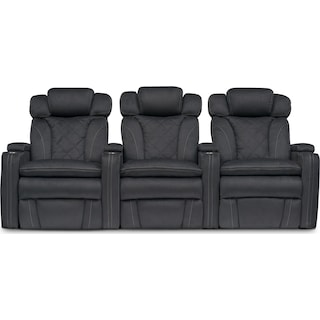 Fiero 3-Piece Power Reclining Home Theater Sectional - Charcoal