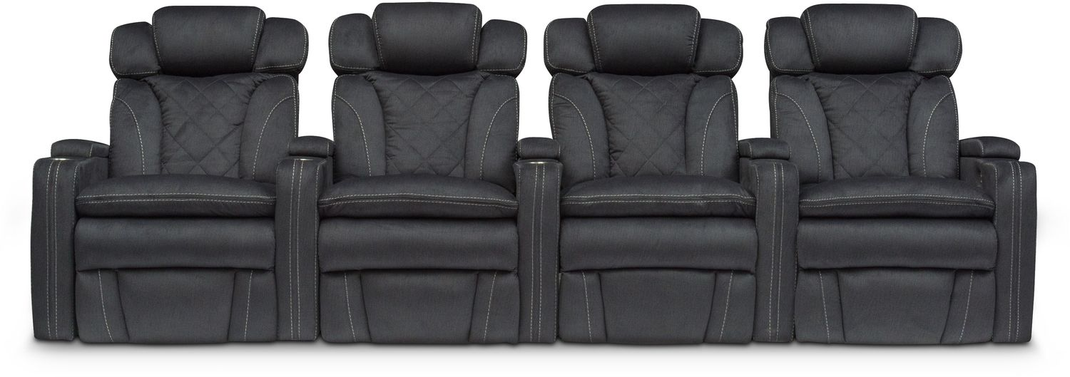 Living Room Furniture - Fiero 4-Piece Power Reclining Home Theater Sectional