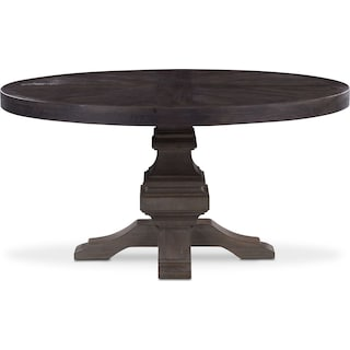 Lancaster Round Wood Top Table - Truffle with Parchment Base