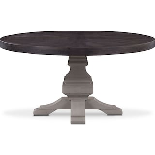 Lancaster Round Wood Top Table - Truffle with Water White Base