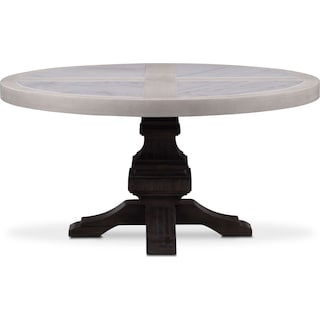 Lancaster Round Marble Top Table - Water White with Truffle Base