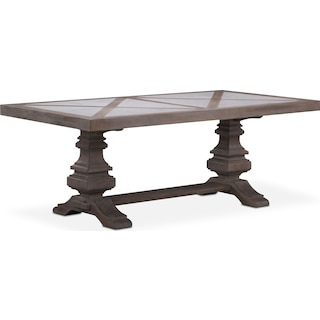 "Lancaster 82"" Marble Top Table with Urn Base - Parchment"