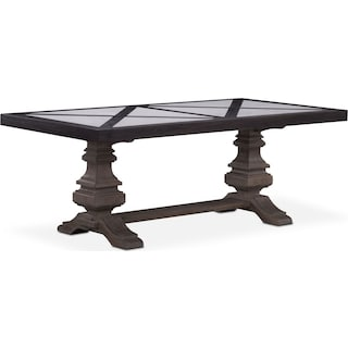 """Lancaster 80"""" Marble Top Table - Truffle with Parchment Urn Base"""